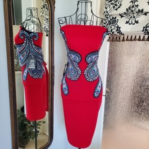 Express red paisley strapless dress